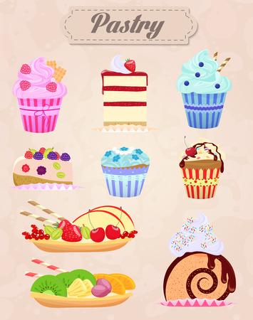 trozo de pastel: Conjunto de tortas y pasteles Ilustración. Estilo vintage