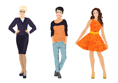 shop assistant: Fashionable females girls in different dress styles