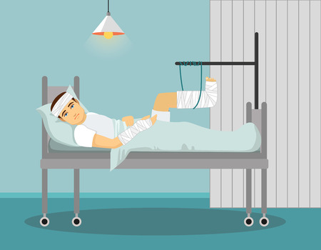 Man with broken leg and hand in Hospital. Vector illustration Ilustrace