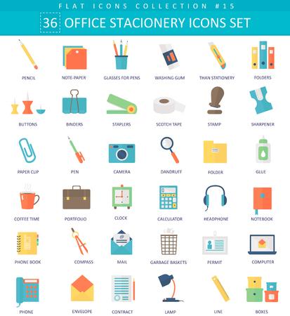 papeles oficina: el color stacionery Oficina Vector conjunto de iconos plana. diseño de estilo elegante Vectores
