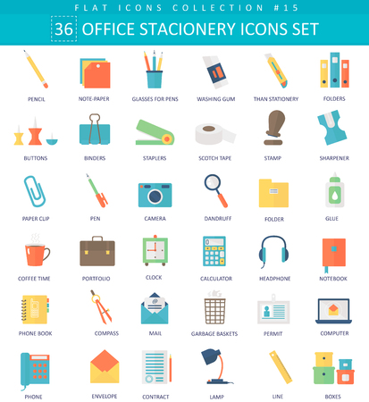 office supplies: Vector Office stacionery  color flat icon set. Elegant style design