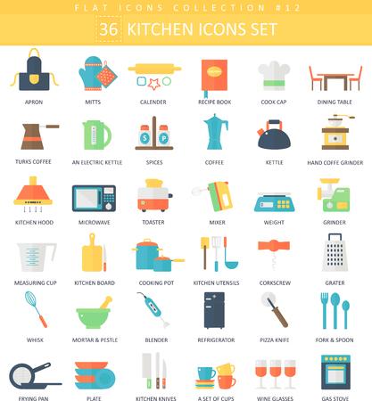 Vector keuken kleur flat icon set. Elegante stijl ontwerp Stock Illustratie