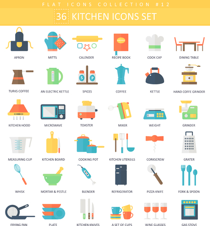 Vector kitchen color flat icon set. Elegant style design