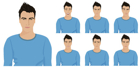 Handsome young guy with different facial emotions and expressions set. Vector illustration