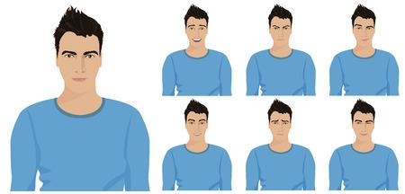 Individuo joven hermoso con diferentes emociones y expresiones faciales establecidos. ilustración vectorial