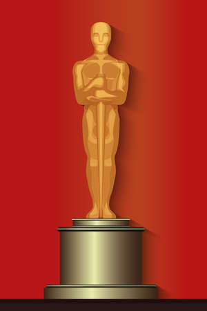 nominations: Golden oscar film award statuette isolated on the red background.