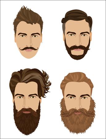 男の髪とひげのスタイル。流行に敏感なファッション高詳細なベクトル イラスト