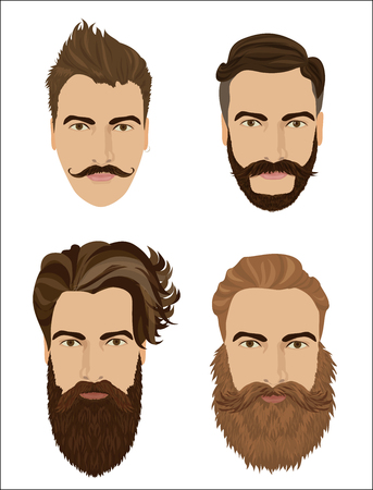 hair style collection: Man hair and beards styles. Hipster fashion high detailed vector illustration