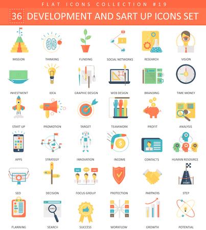 startup and development color flat icon set. Elegant style design Ilustração