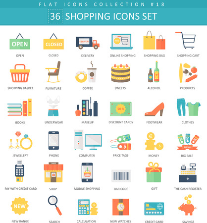shopping color flat icon set. Elegant style design Illustration