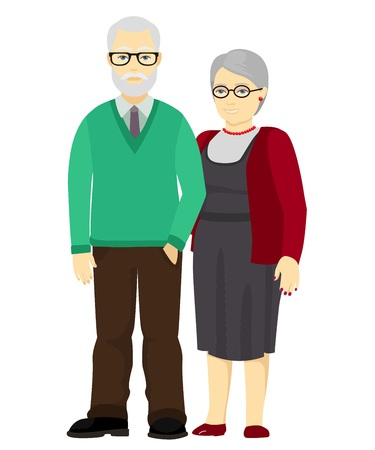 old men: Happy grandfather and grandmother standing together. Old people in family. illustration