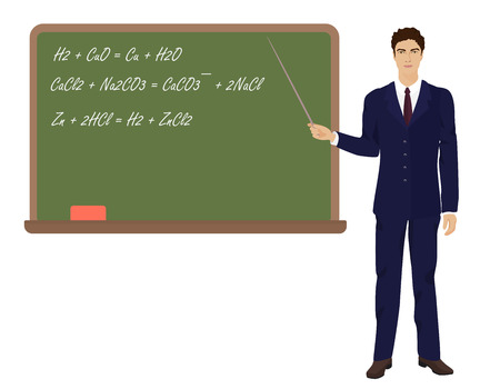 young teacher: Young teacher man near the desk on the white background