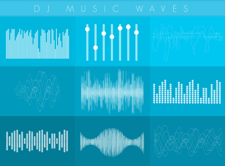 sound waves set. White transperant color. Colorful abstract futuristic equalizer.