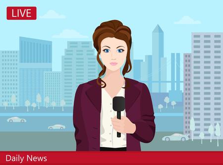 reportero: Joven y bella mujer informa de televisi�n de noticias anclas