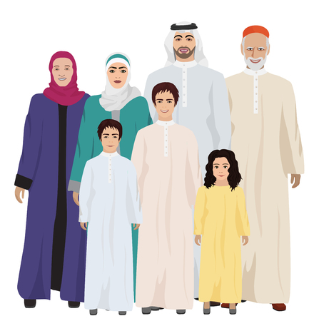 Big and Happy arab Family illustration isolated on white. 矢量图像