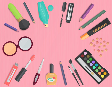 cosmetic: Set of colorful cosmetic isolated on a pink background. Top view