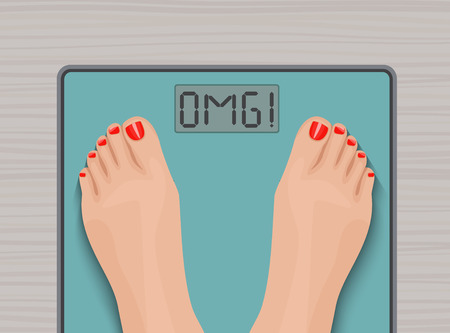 bathroom scale: Feet on weighing scales. top view. Health concept Illustration