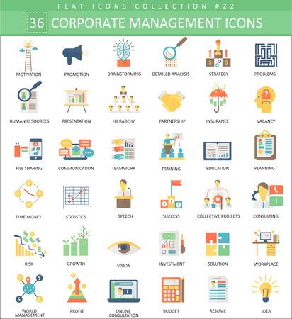 managment: Corporate managment color flat icon set. Elegant style design Illustration
