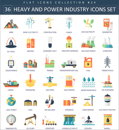 heavy industry: heavy and power industry color flat icon set. Elegant style design