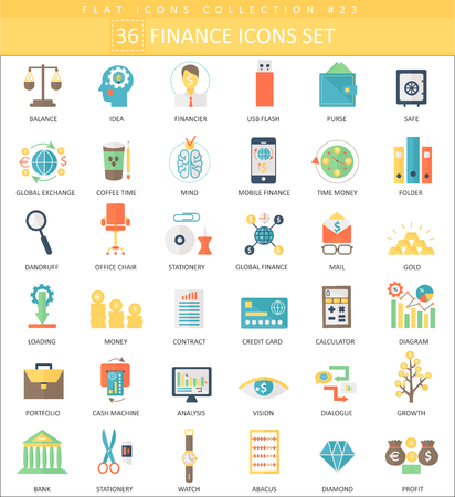 finance color flat icon set. Elegant style design