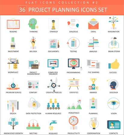 project team: Project planning color flat icon set. Elegant style design Illustration