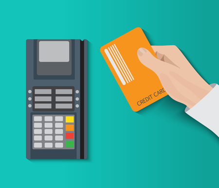 holding credit card: Hand holding credit card and using pos terminal. Fast payment