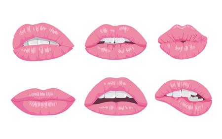 高詳細な光沢のある唇や口の中の図。オープンとクローズ アップ