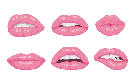 High detailed glossy lips and mouth illustration. Open and close up