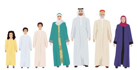 Grande y feliz familia árabe ilustración aislado en blanco.