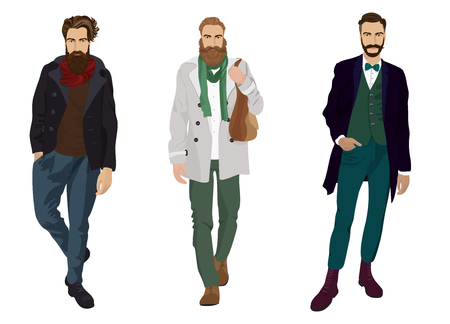 guy: Handsome young guys with beards in fashion and casual clothes isolated.