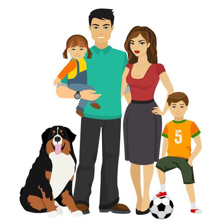 Jonge gelukkige familie illustratie geïsoleerd op wit. Vector Illustratie
