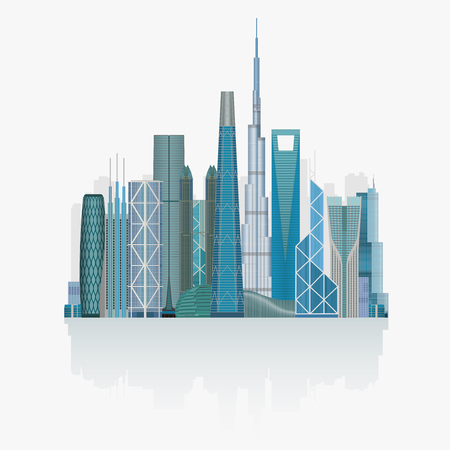 city buildings: Modern City skyline high detailed illustration