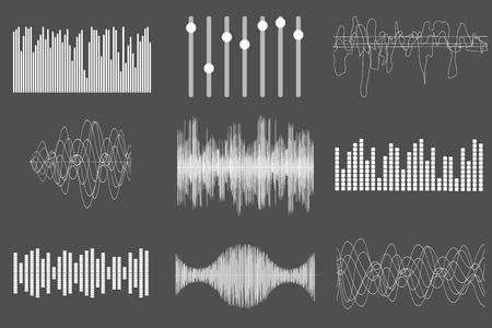 sonido: ondas de sonido de la m�sica blanco. La tecnolog�a de audio, el pulso musical visual. ilustraci�n Vectores