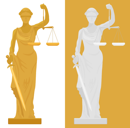 illustration of Themis Femida statue in two color styles