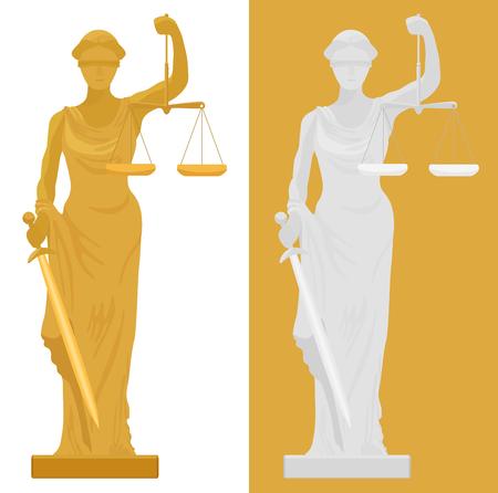 Illustration der Themis Femida Statue in zwei Farbstile