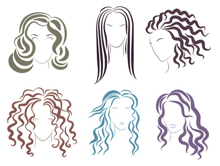 Illustration of the several options styles for women hairstyles Vetores