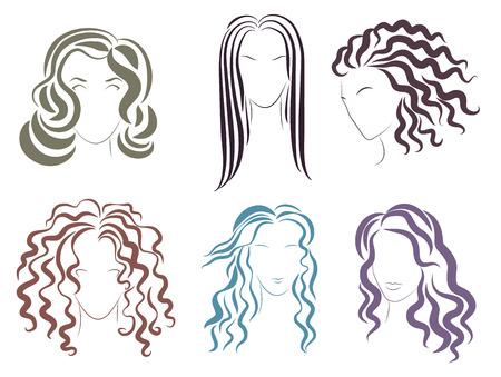 Ilustración de los varios estilos opciones para las mujeres peinados Ilustración de vector