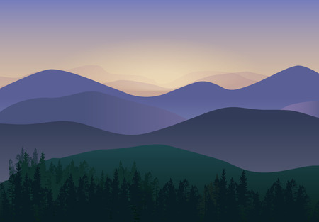 overlook: illustration with Panorama Mountains view. Wonderful nature scenery