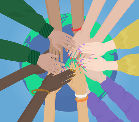 multiracial: Group of multiracial human hands Together Joining on the Earth concept. Team and union Illustration