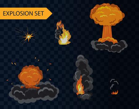 brandweer cartoon: explosie cartoon animatie effect in te stellen met rook Stock Illustratie