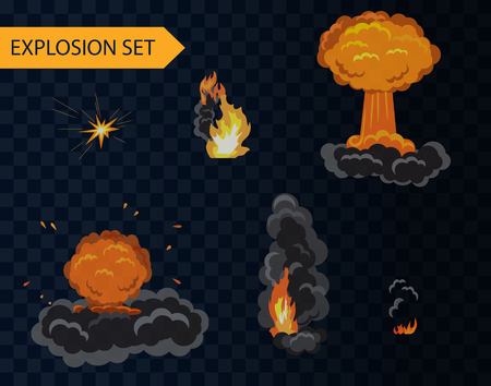Cartoon explosion animation effect set with smoke