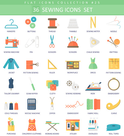Sewing color flat icon set. Elegant style design