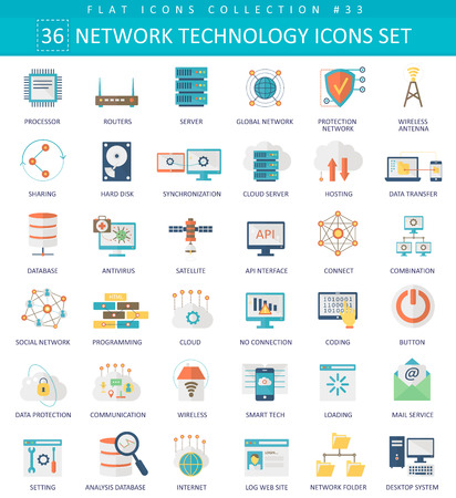 Vector Network technology color flat icon set. Elegant style design Иллюстрация