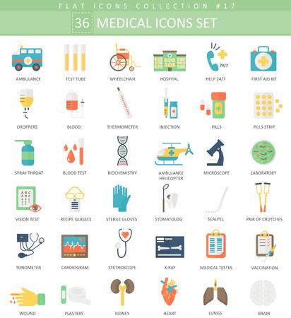 Vector Medical color flat icon set. Elegant style design