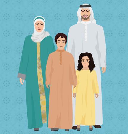Grande y feliz familia árabe ilustración vectorial