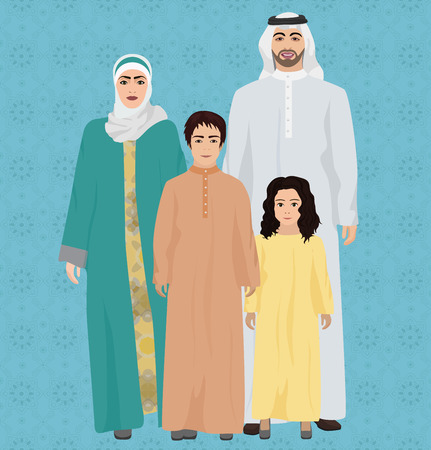 hombre arabe: Grande y feliz familia árabe ilustración vectorial Vectores