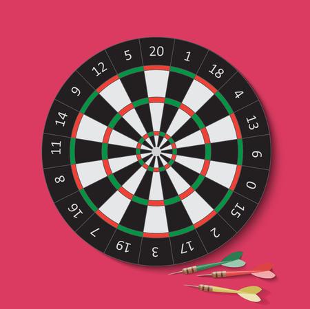 darts: Dart and dartboard. Vector Illustration on cherry background.
