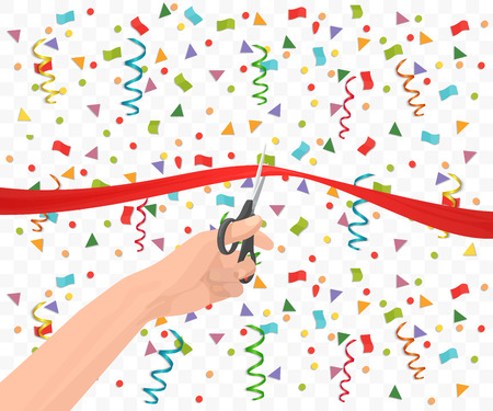 introducing: Hand holding scissors and cutting red ribbon on the transperant background. Opening ceremony event celebration. Illustration
