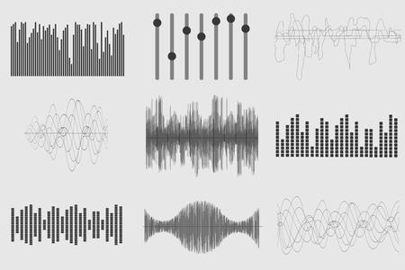 sonido: ondas de sonido de la música negro sobre fondo blanco. La tecnología de audio, el pulso musical visual. ilustración vectorial Vectores