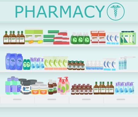 dispensary: Modern pharmacy  and drugstore interior. Pills and Drugs with vitamins on Pharmacy Shelves Illustration